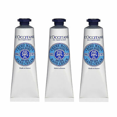 3 X Loccitane Shea Butter Hand Cream  Dry Or Damaged Skin  30Ml Hands Lotion