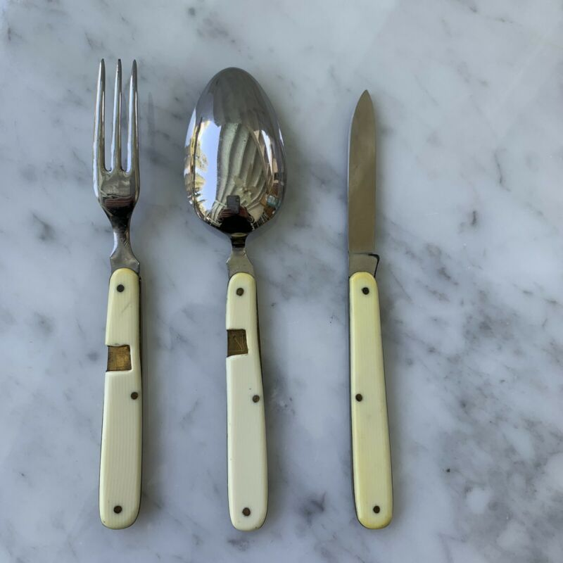 Vintage Rostfrei 3 Piece Travel Folding Knife Fork Spoon  Bone With Case Germany