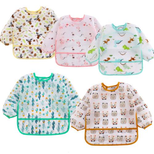 5pcs Set Baby Toddler Kids Waterproof Long Sleeve Bibs Apron Feeding Smock