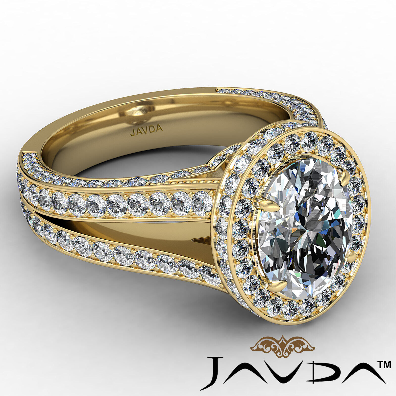 Halo Oval Diamond Engagement Ring GIA Certified F Color & SI1 clarity 2.31 ctw 7