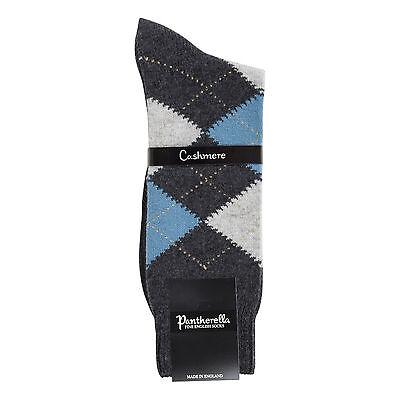 Mens Luxury Charcoal Chine Beaulieu Argyle Pantherella Cashmere Socks  ()