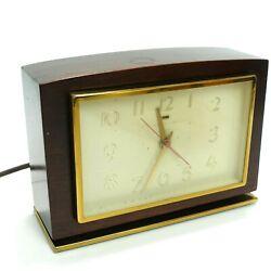 Vintage General Electric 7H188 Mantel Clock W/ Alarm Wood Brass