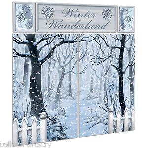 Christmas Snowy Winter Wonderland Forest Scene Setter Party Room Decorating Kit