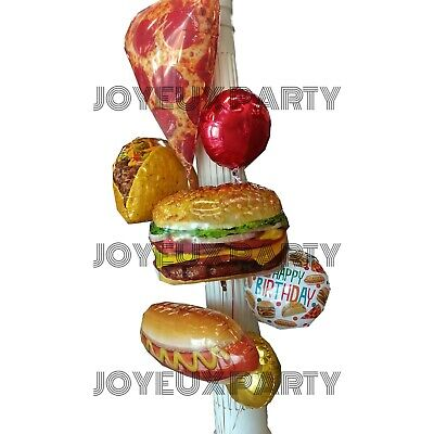 Foil Balloons Pizza Party Decorations, BBQ Party Sign, Hamburger Hot Dog