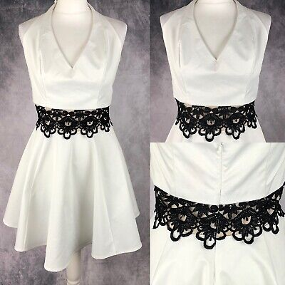 Occasions Party Center (Lipsy White Halterneck Skater Dress Black Lace Middle UK Size 16 Occasion)