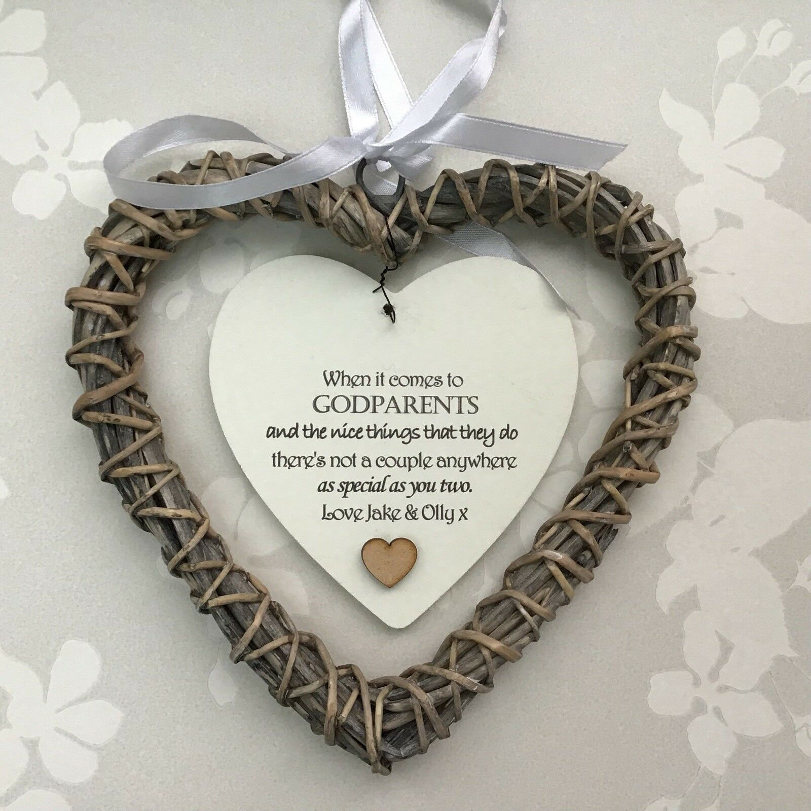 Shabby personalised Chic GODPARENTS ~ ANY NAME Willow Heart Birthday ~ Christmas