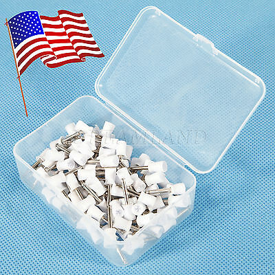100pc Dental Latch Type Rubber Polishing Polisher Cup Prophy Firm White Usa Yk-k