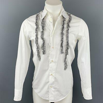 ALESSANDRO GHERARDI Slim Line Size M White Ruffled Cotton Long Sleeve Shirt