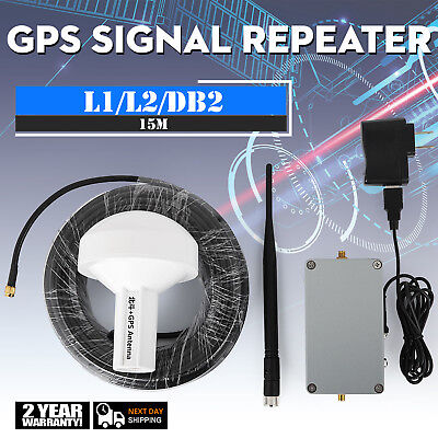 New Amplified Gps Antenna (GPS Signal Repeater Amplifier Transfer L1 DB2 Full Kit Distance 15 Meter )