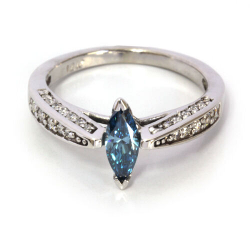 0.7 ctw Natural Marquise Cut Blue Diamond Solid 14k White Gold Engagement Ring