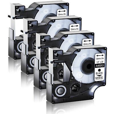 4 Pack Black On White Tape 45013 D1 Label Cassette For Dymo Labelmanager 210d