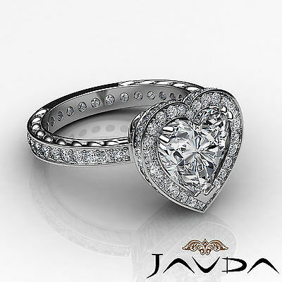 Floral Design Double Prong Halo Heart Cut Diamond Engagement Ring GIA I VS2 2Ct 2