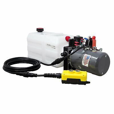 Double Acting Hydraulic Pump For Dump Trailers Kti - 12vdc - 6 Quart Reservoir
