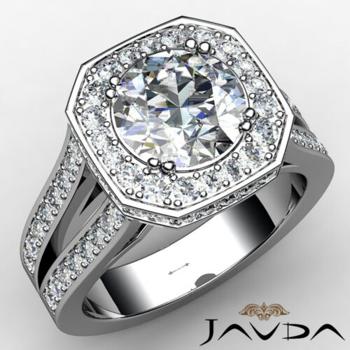 Round Diamond Engagement Split Shank Halo Pave Ring GIA F VS1 Platinum 2.84ct