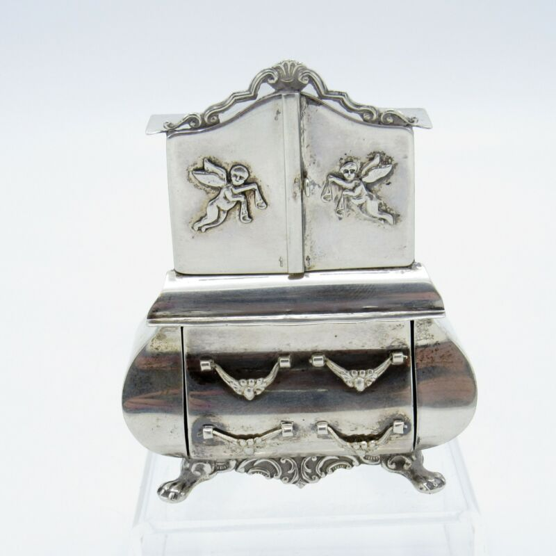 Antique Sterling Miniature Tall Chest, RARE