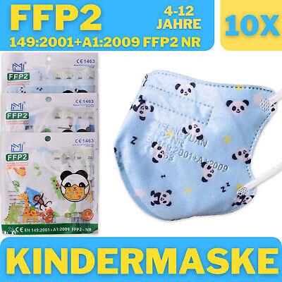 10x FFP2 Maske CE Zertifiziert Kinder Atemschutzmaske Jungen Mehrfarbig Blau