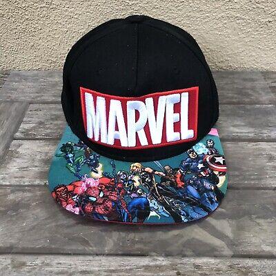 Black Spiderman Hat (Marvel Comics Avengers Black Snapback Hat Baseball Cap OSFA Red Hulk)