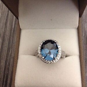 New qvc paraiba Tourmaline sterling silver ring size k  (sold out on qvc)