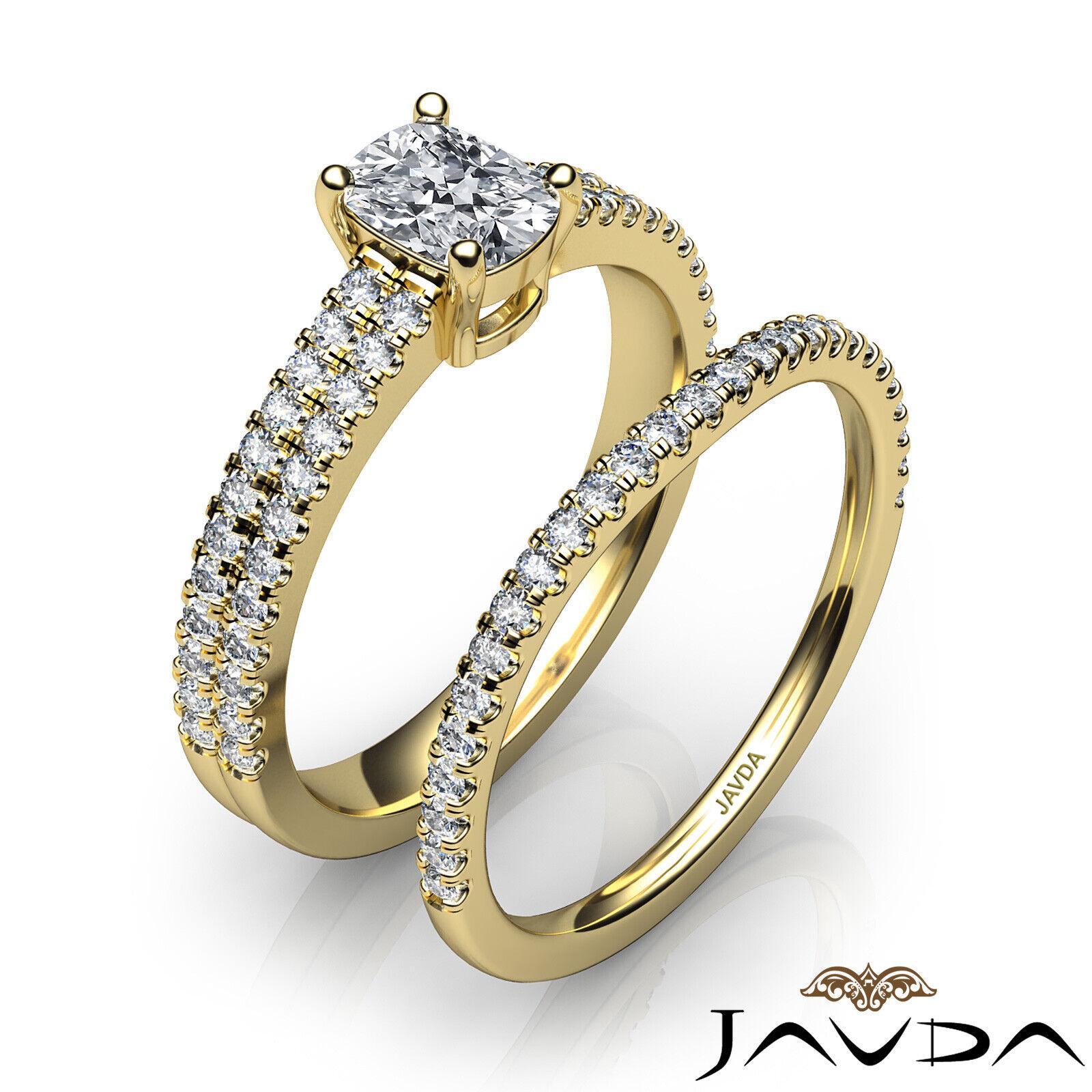 1.8ctw Bridal Scalloped Pave Cushion Diamond Engagement Ring GIA F-VVS2 W Gold 10