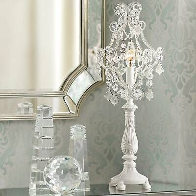 """Fay White 19 1/2"""" High Crystal Candelabra Table Lamp"""