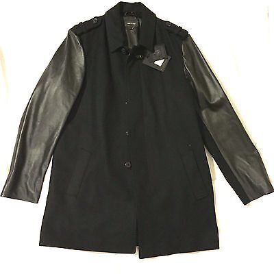 NEW MACKAGE NATHANIEL WOOL LEATHER BLACK CAR COAT MADE IN CANADA ...