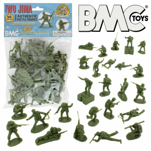 1:32 54mm US Marines Olive 36 Figures Plastic Toy Soldier BMC 40034 Iwo Jima