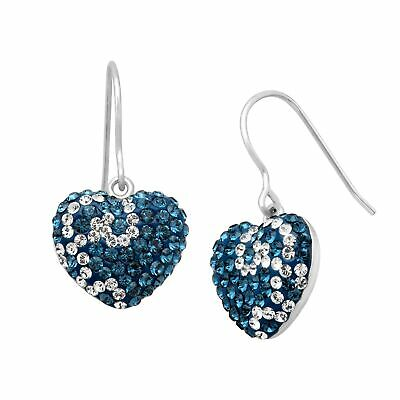 Crystaluxe Swirl Heart Drop Earrings with Swarovski Crystals in Sterling Silver