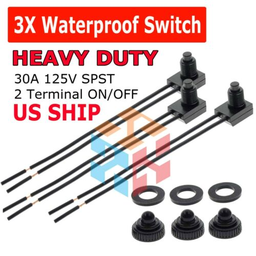 """3pcs 12V 4"""" Wire Leads Waterproof On-Off Push-Button Switch for Motorcycle Car"""