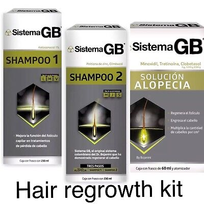 Set 3 Sistema GB Hair Loss Shampoo Growth Shampoo #1 #2  + Alopecia Solution
