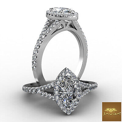Halo Split Shank Marquise Cut Diamond Engagement U Pave Set Ring GIA F VS1 1 Ct