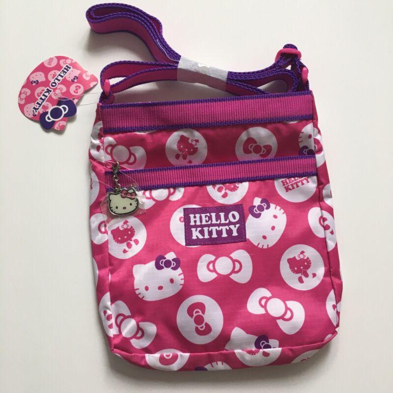 Hello Kitty Sanrio  Pink Purple Crossbody Keychain Zippers Bag Purse Cute Rare