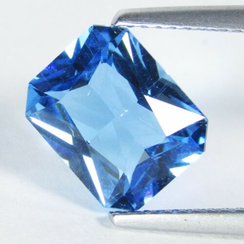 """3.45Cts Excellent Natural Swiss Blue TopazRadiant Cut Loose Gemstone """"Ref VDO"""""""