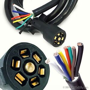 7 Way 8FT Foot Trailer Cord Wire Harness Light Plug Connector Molded RV Cable