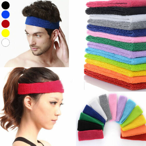 Women/Men Cotton Sweat Sweatband Headband Yoga Gym Stretch H