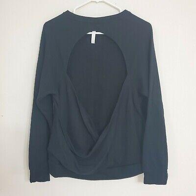 Fabletics Open Back Pullover Sweatshirt in Black Womens Size XL
