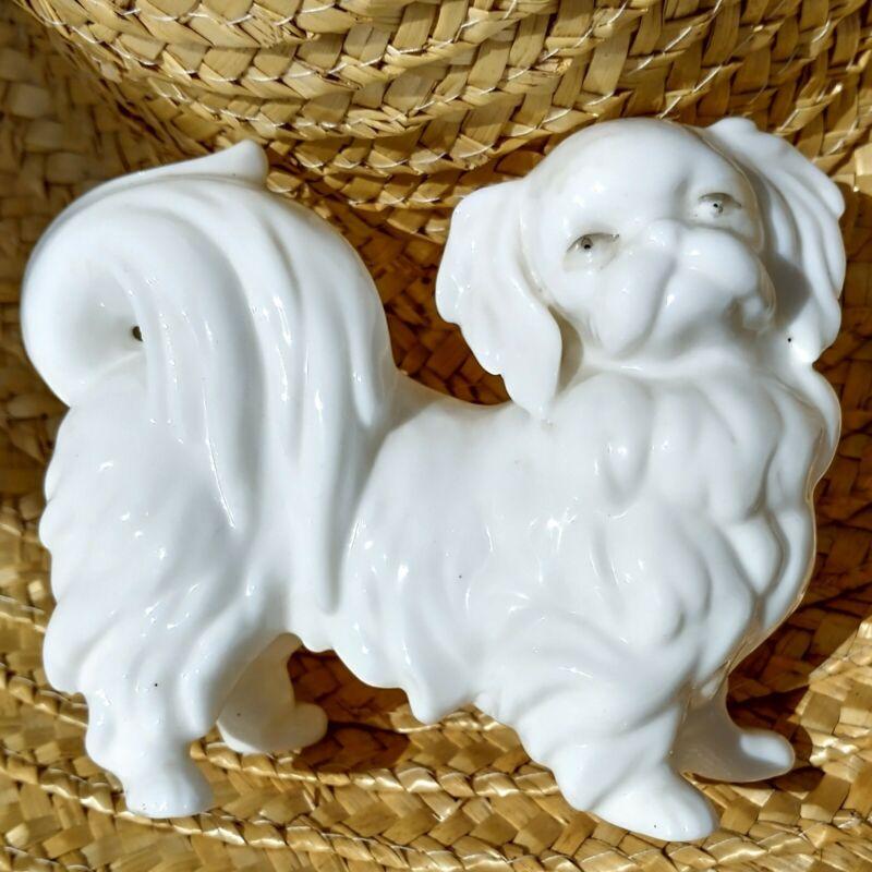"Vintage Ardalt Lenwile Pekingese Dog Figurine Verithin White Porcelain 4.5"""