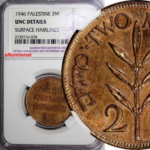 Palestine British Administration 1946 2 Mils NGC UNC DETAILS  KEY DATE KM# 2