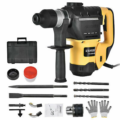 1500w 1-12 Sds Electric Rotary Hammer Drill Plus Demolition Chisel Bits Case