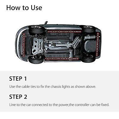 RGB 48 LED Strip Under Car Tube Underglow Underbody System 4Pcs Neon Lights Kit 9