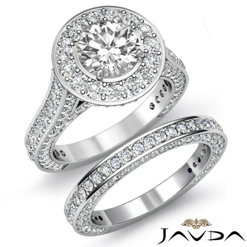 Halo Round Diamond Engagement Bridal Set Ring GIA F SI1 14k White Gold 4.45ct