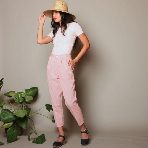 vtg 80s chic CALVIN KLEIN stripe SEERSUCKER cotton high waist crop trouser pants