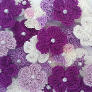 50 Crochet Flowers scrapbook card decor doll clothes headband bag ZJC3-601