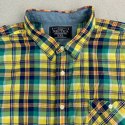 Nautica Button Up Shirt Mens 2XL Green Yellow Short Sleeve Cotton Plaid Casuals