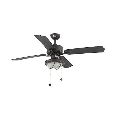 FARO Ventilatore a soffitto da esterno Hierro IP44 marrone con luce lampada