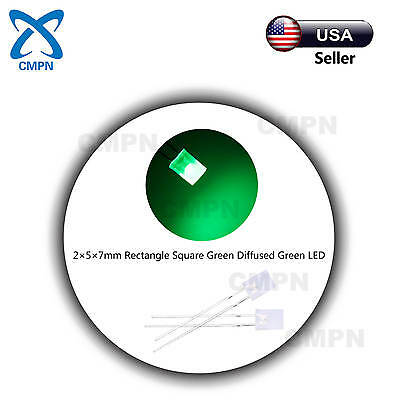 100pcs 2x5x7mm Square Rectangle Diffused Green Bright Light Lamp Led Diodes