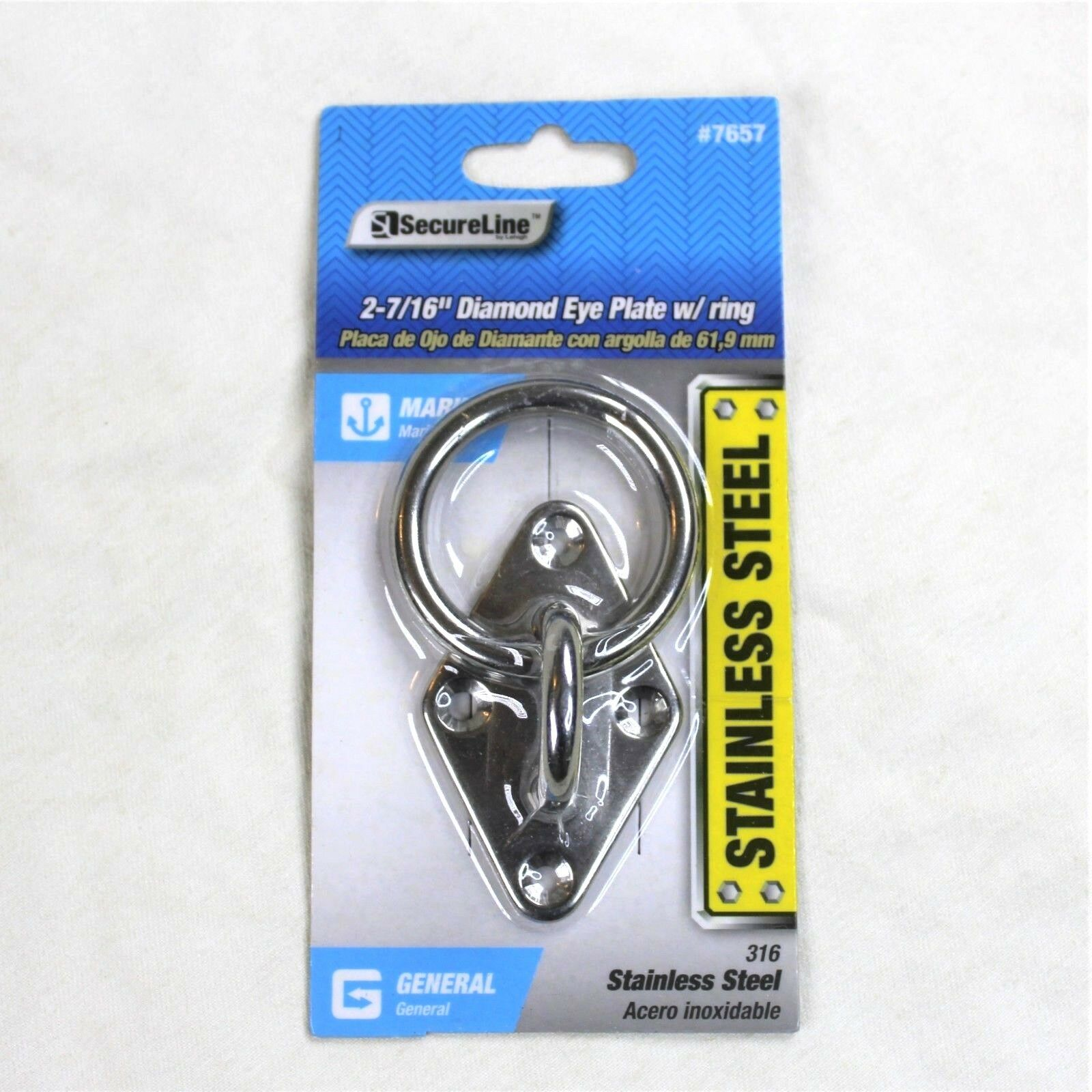 "SecureLine 2 7/16"" Marine 316 Stainless Steel Diamond Eye Plate Ring Silver"