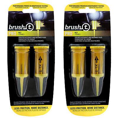 2 PACKS of 2 Brush T XLT Pro Jumbo Golf Tees -Distance, Consistent, Low (Brush T Golf Tee)