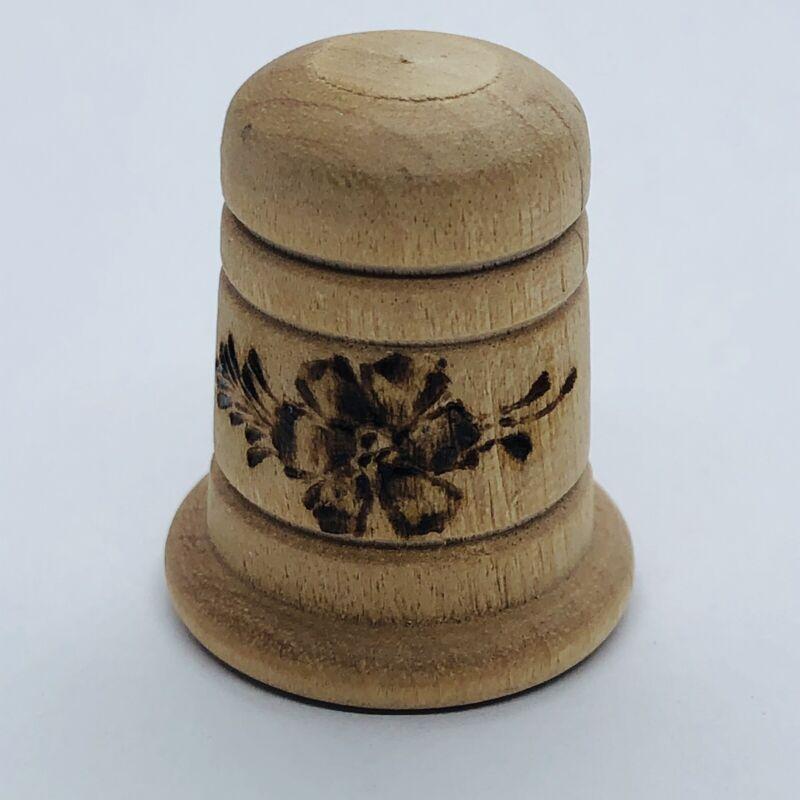 Vtg Wood Souvenir Thimble w/ Burned in Floral Design