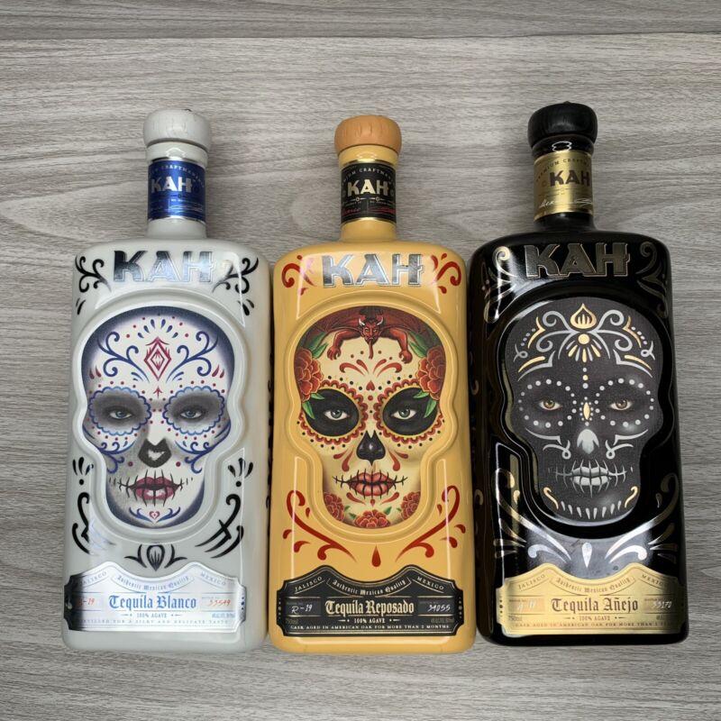 EMPTY 3 Kah Tequila Decanters Blanco Reposado Anejo Sugar Skulls Decorative