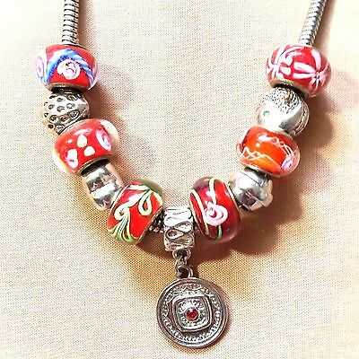 Euro Charm Necklace Silver Art Glass Heart Strawberry yin yan Flower (P27)